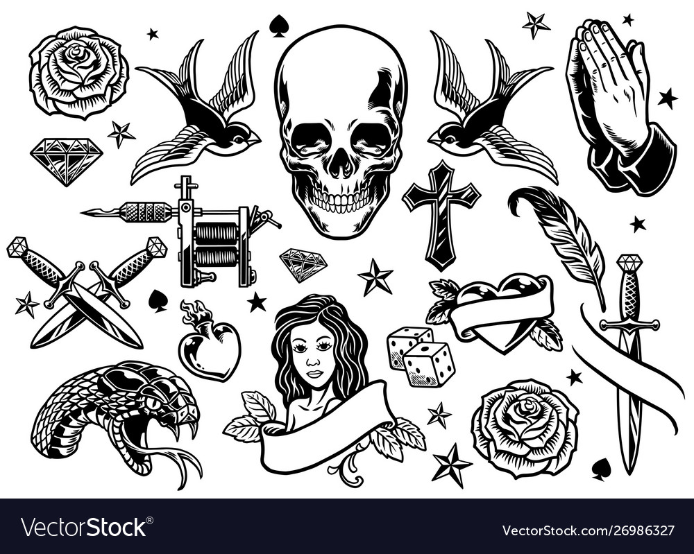 Set various tattoo flash