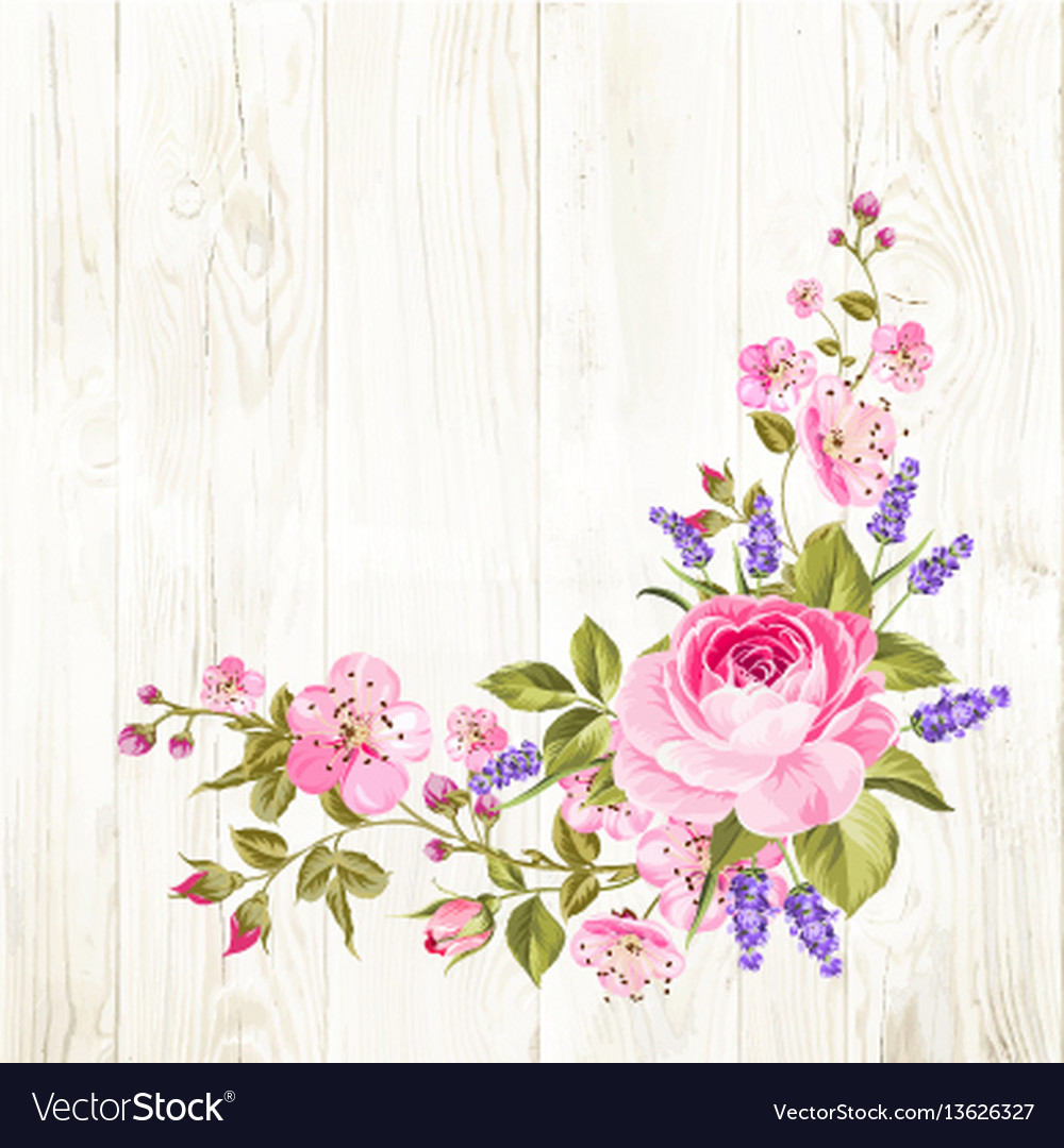 Spring flowers garland vector image