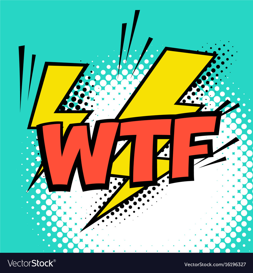 Wtf colorful speech bubble with lightning comic vector image