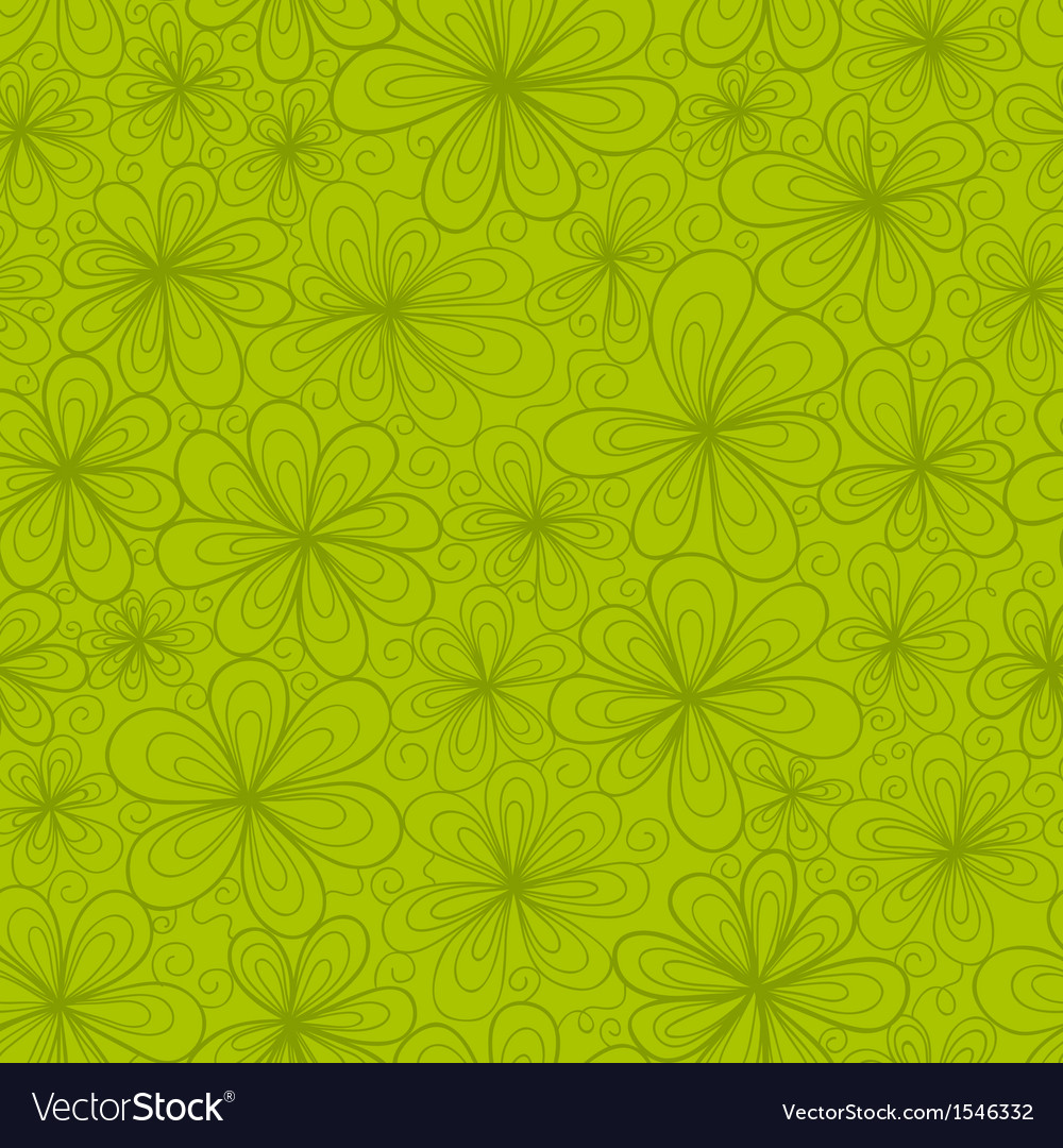 Abstract flowers seamless pattern in green tints vector image