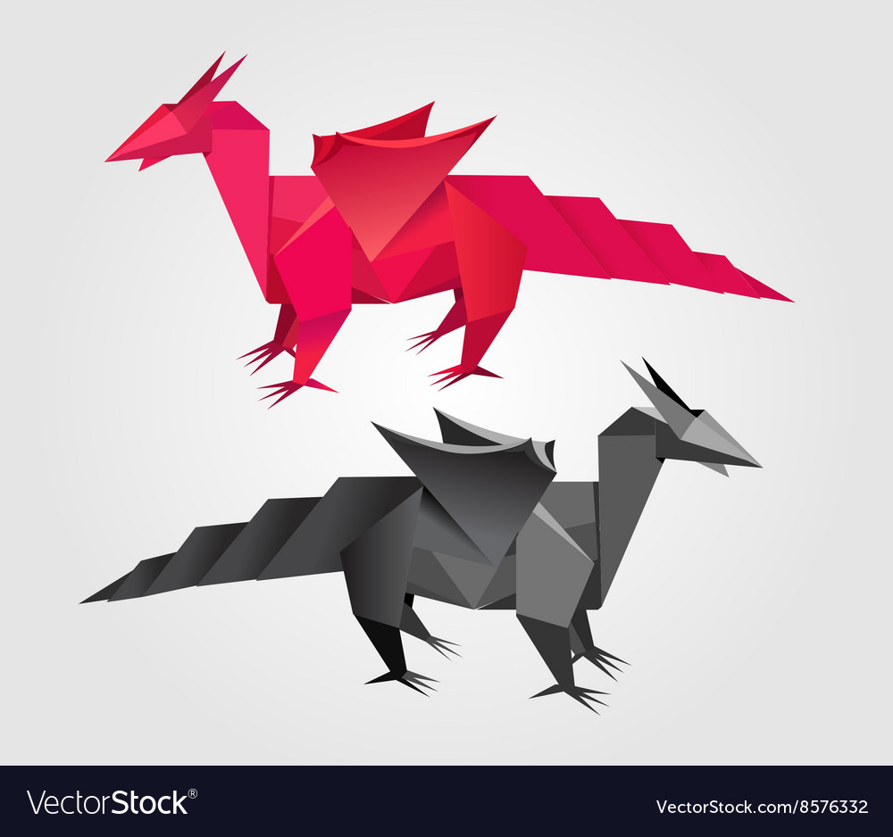 Abstract Origami Dragon Royalty Free Vector Image