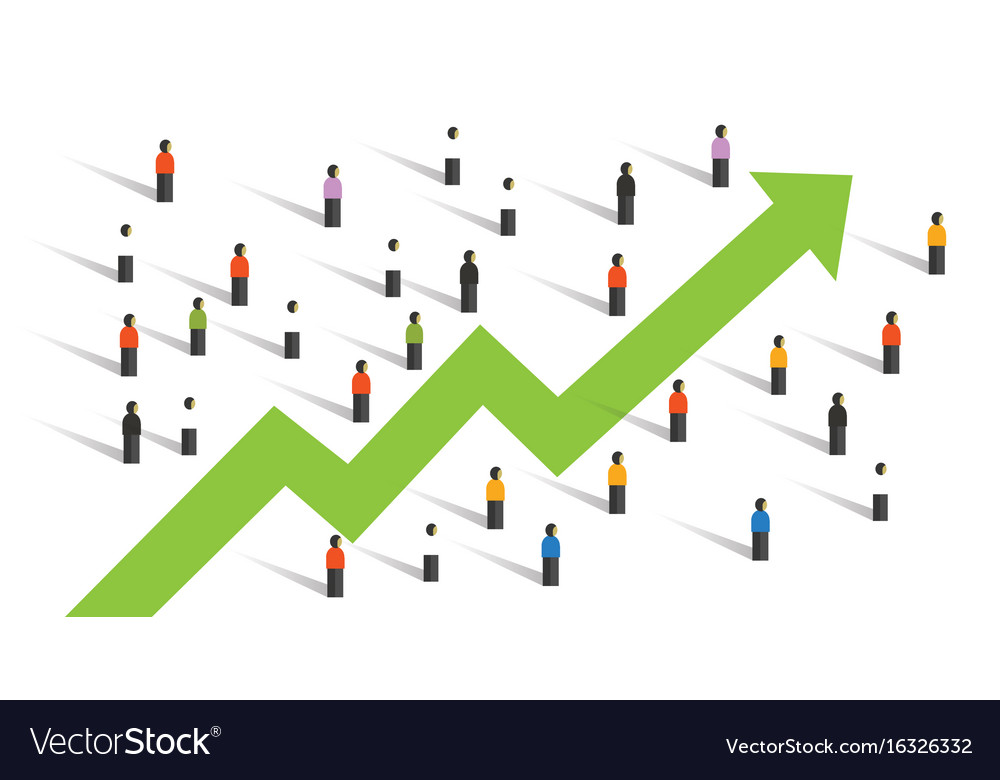 arrow up around people crowd business chart vector image