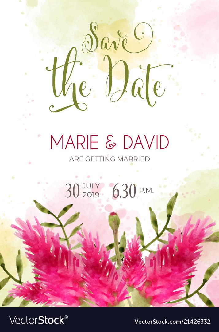 Beautiful wedding invitation with watercolor