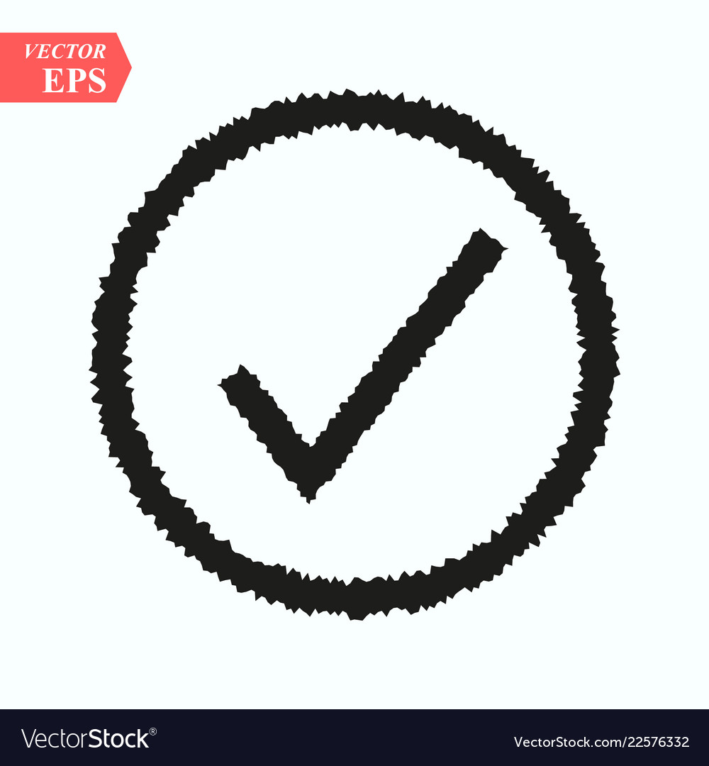 Black wave check mark or tick icon in a circle