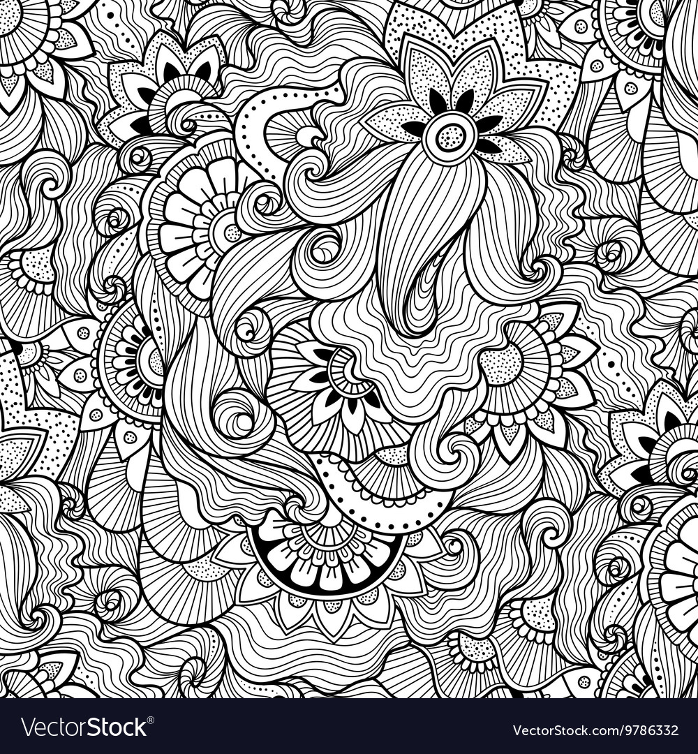 Floral background in zen-tagle style vector image