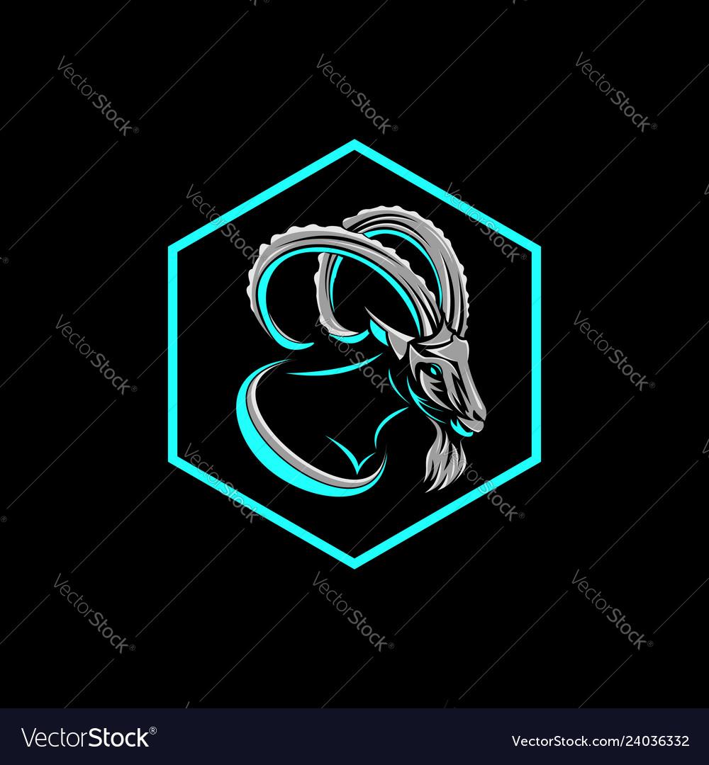 Goat hexagonal badge logo