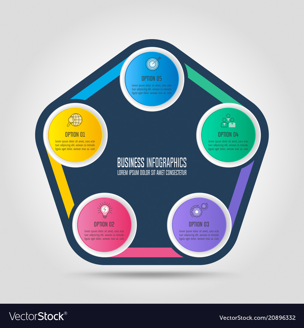 Infographic design business concept with 5 options