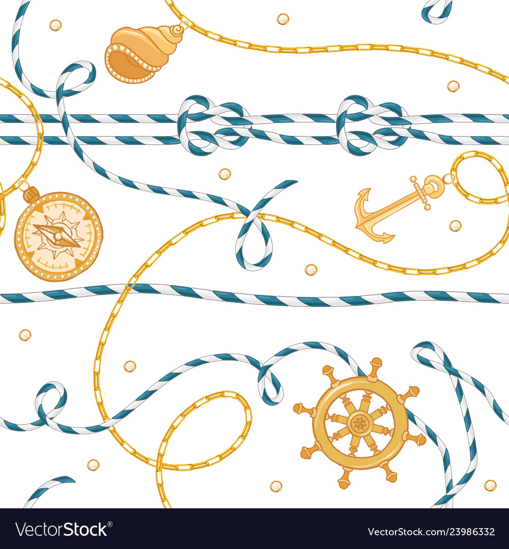 Nautical seamless pattern marine rope knots chains