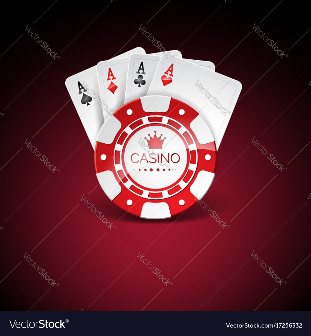 On a casino theme with red playing chips and