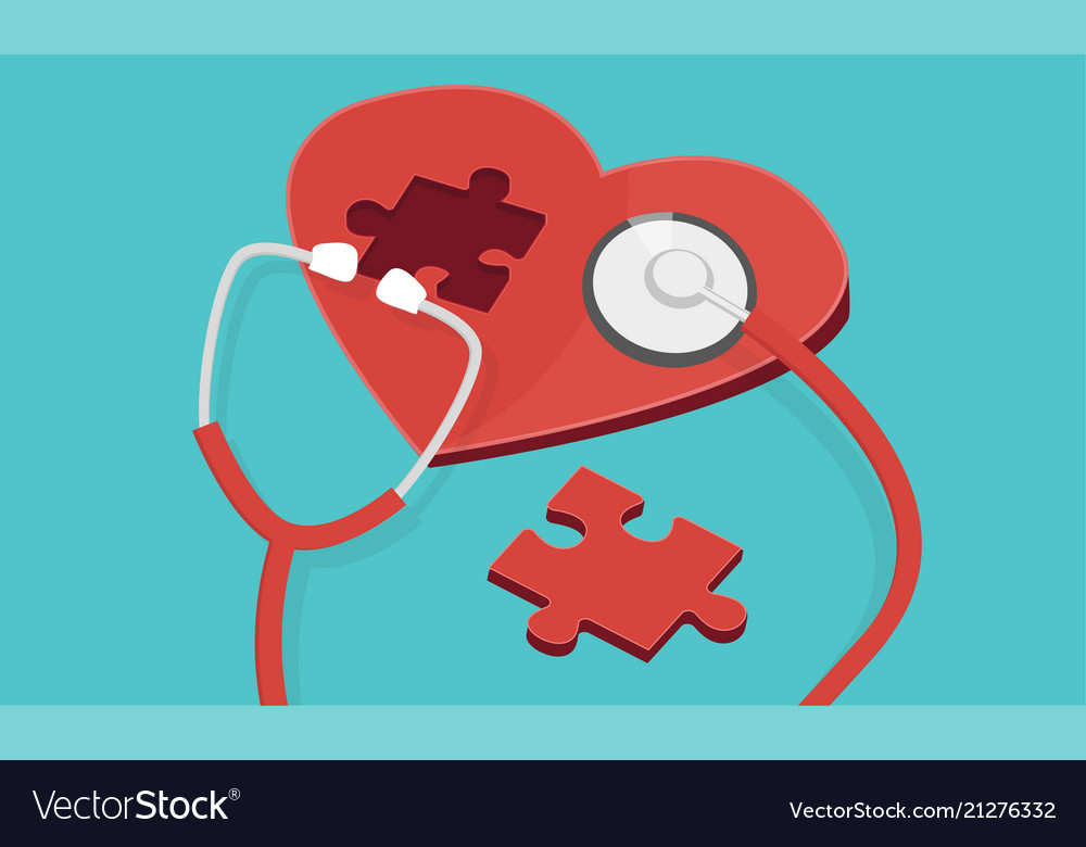 Red puzzle heart with stethoscope isolated blue