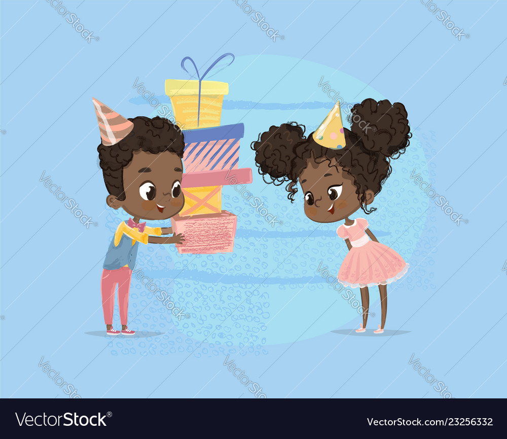Smiling african american child boy give girl
