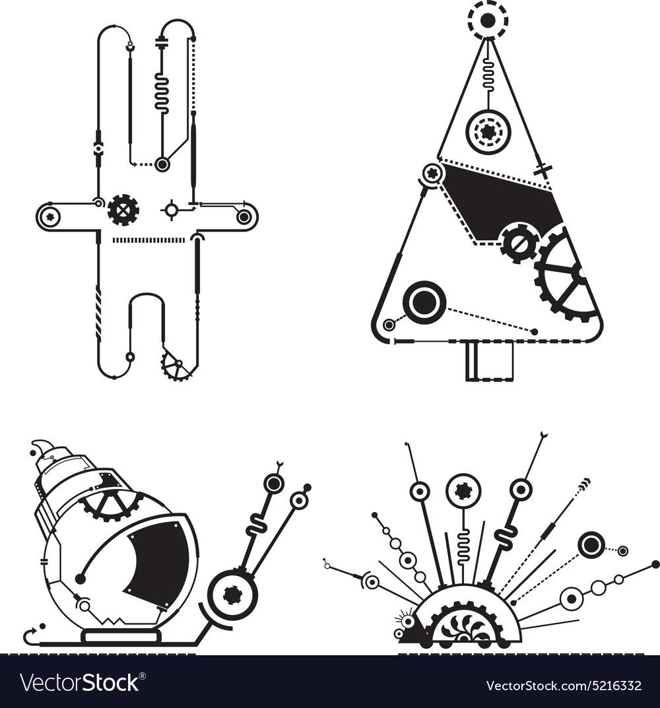 Steampunk animals graphic
