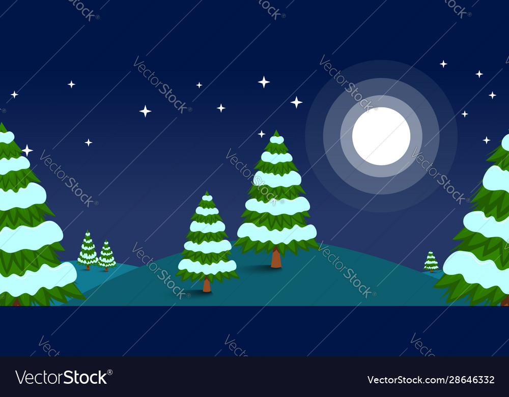 Winter landscape with pine trees in cartoon style
