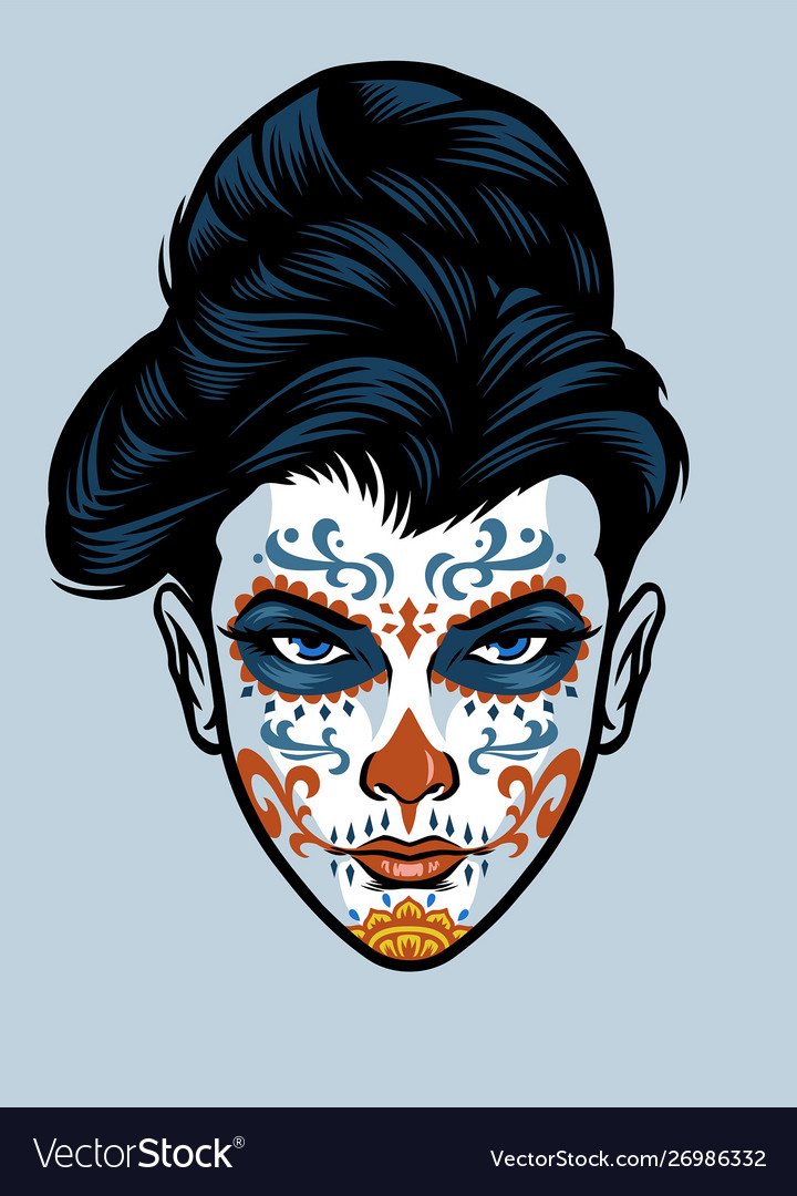 Women head wearing sugar skull face make up