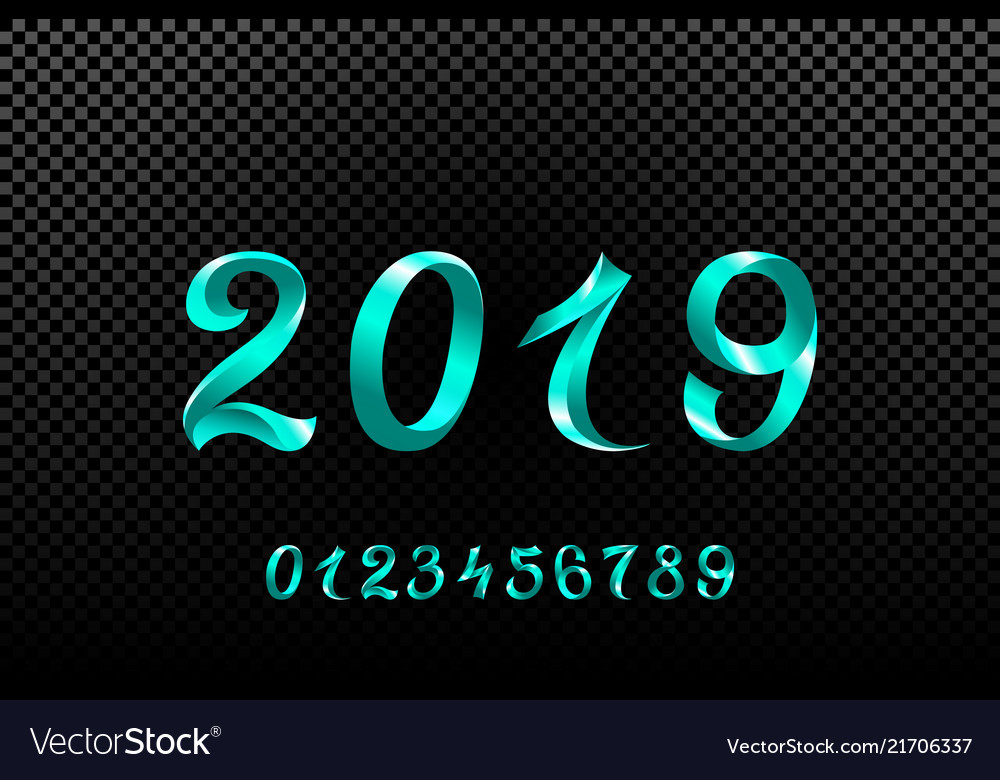 2019 blue new year sign with glitter and loading