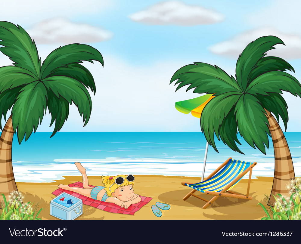 a girl relaxing at the beach royalty free vector image