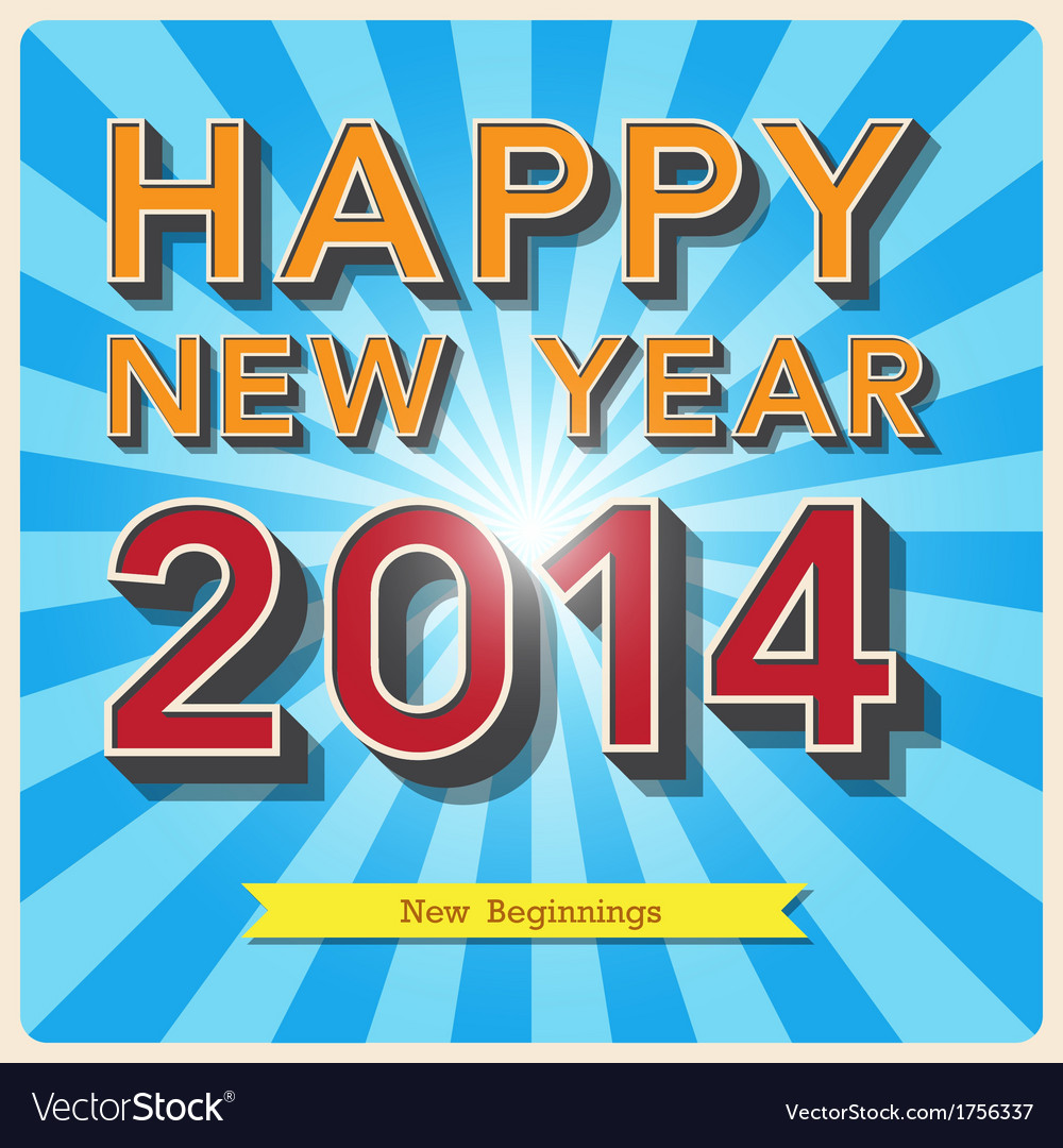 Happy new year retro poster