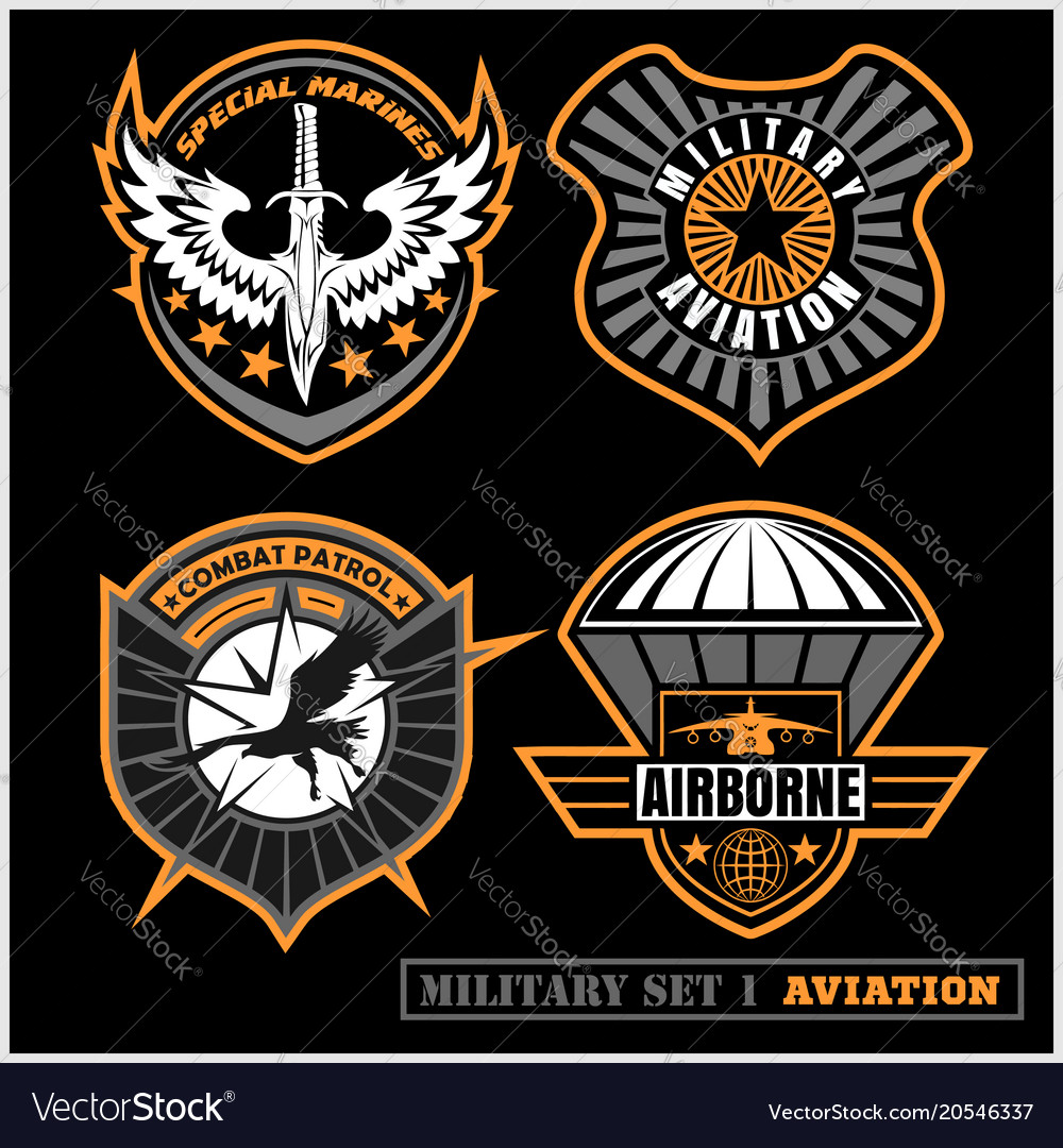 Set of military and army badge and patches vector image