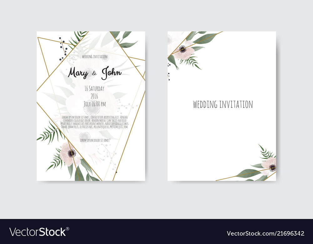 Wedding Invitation Card Sample: Botanical Wedding Invitation Card Template Design Vector Image