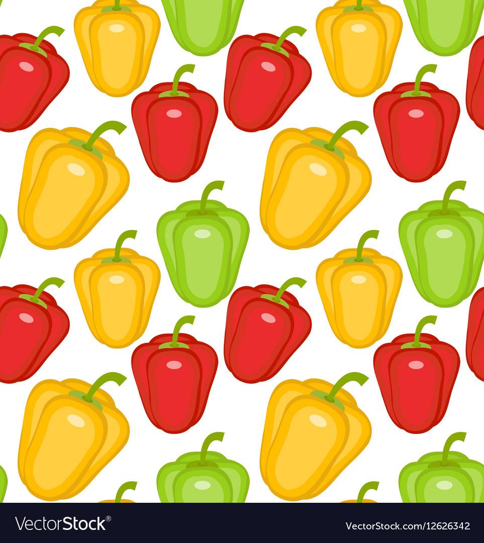 Bulgarian pepper seamless pattern Paprika yellow