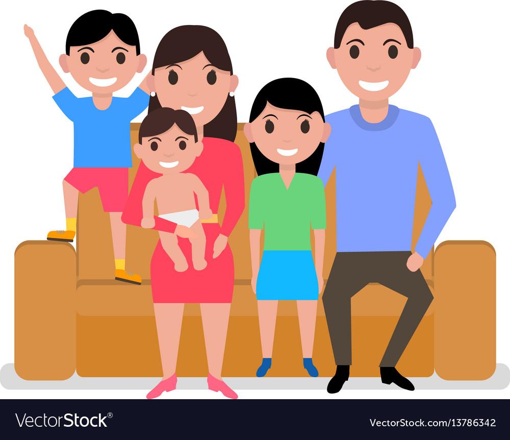 Cartoon happy family sitting on sofa