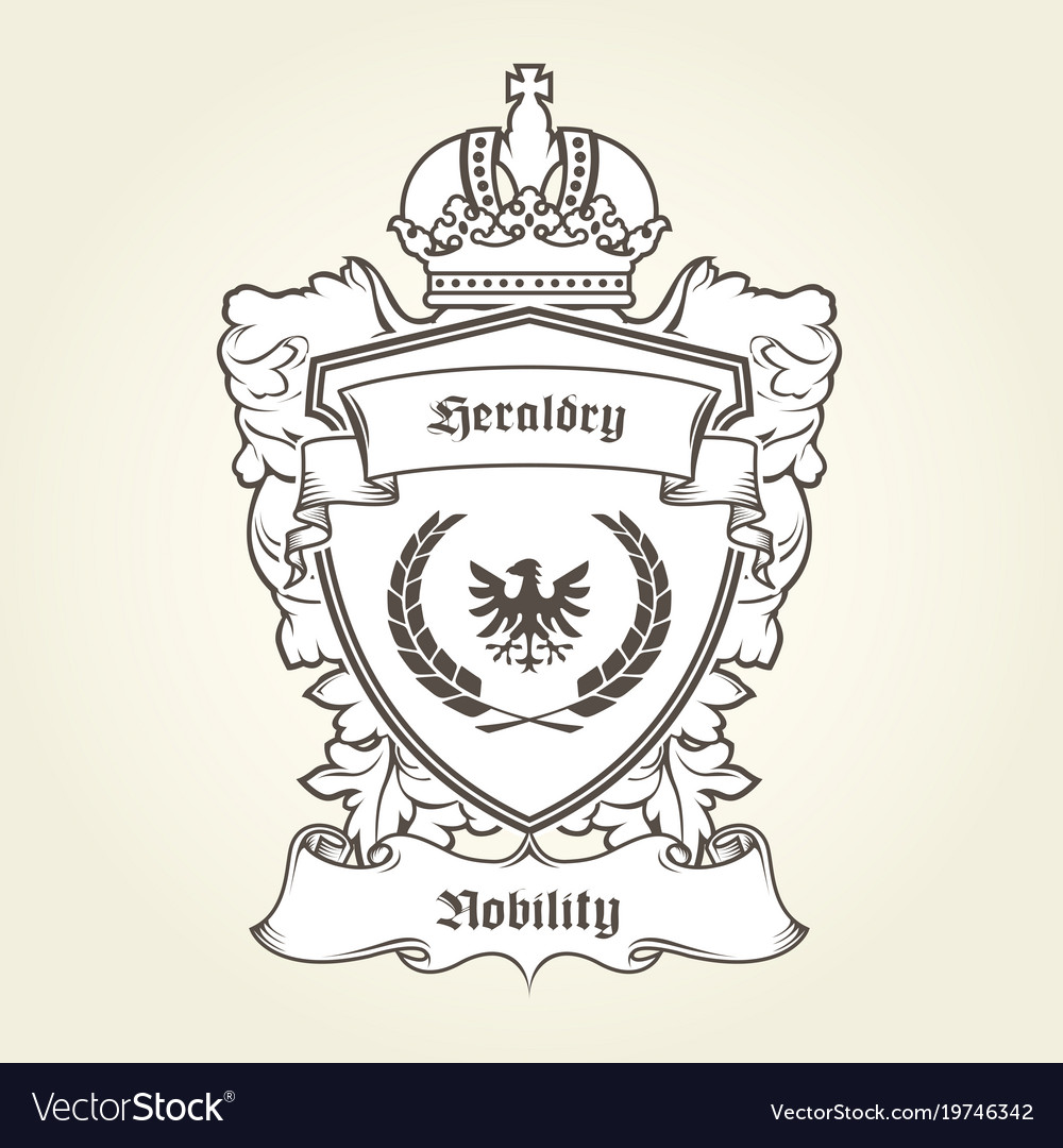 Coat arms template with heraldic eagle shield