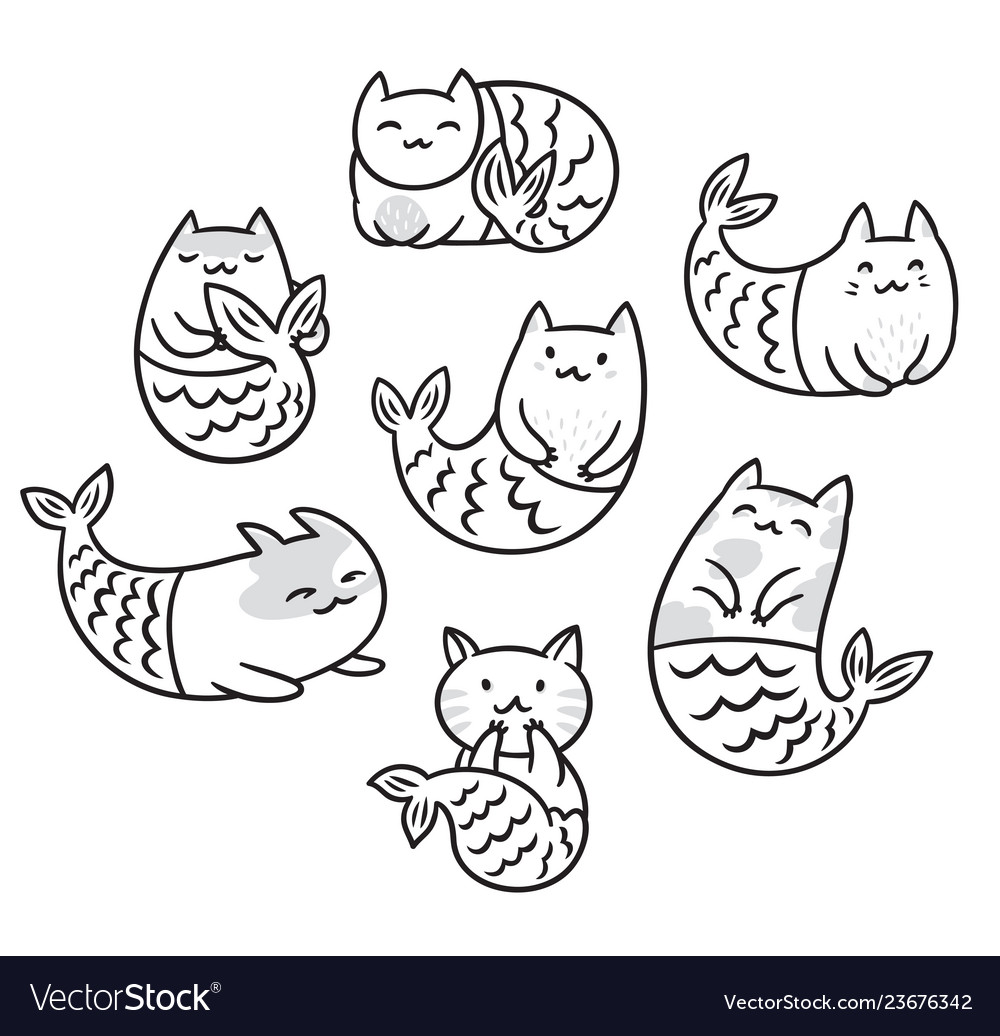 Collection With Cartoon Cats Mermaids In Contour Vector Image