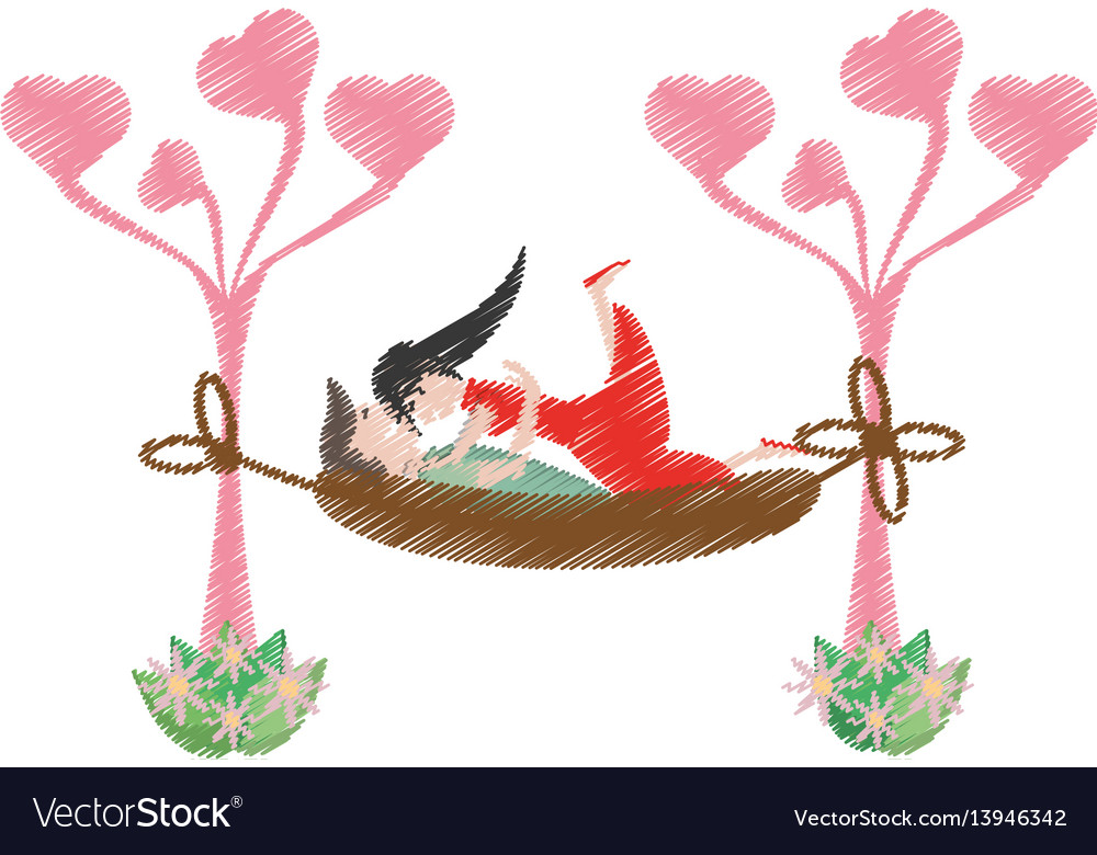 Drawing couple love hammock vector image