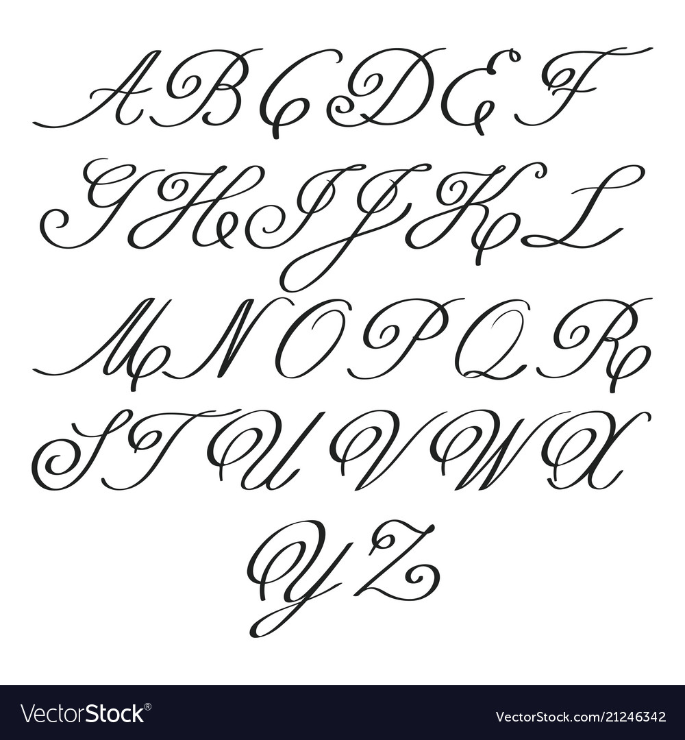 Elegant calligraphy letters with florishes