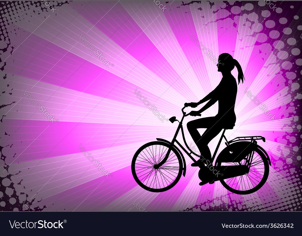 Female bicyclist on the abstract background