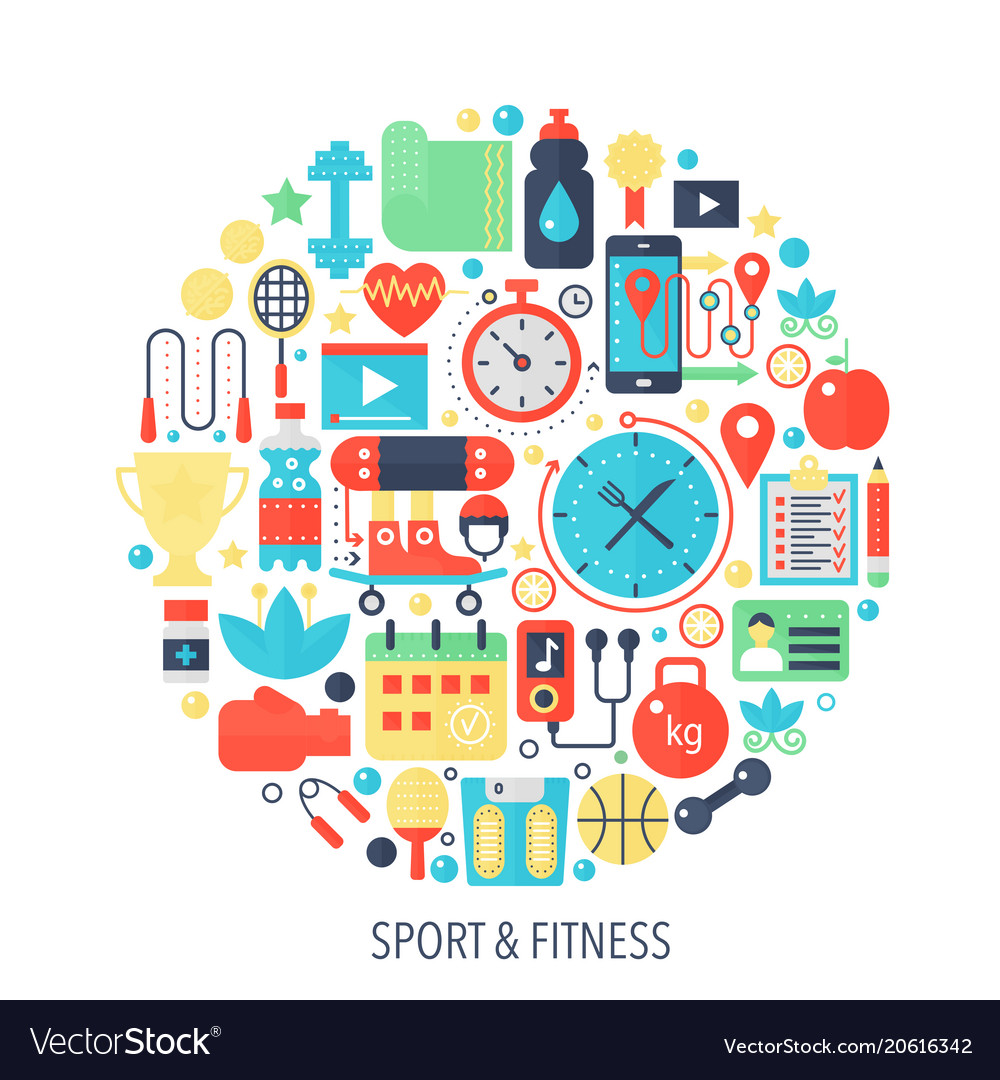 Fitness sport flat infographics icons in circle