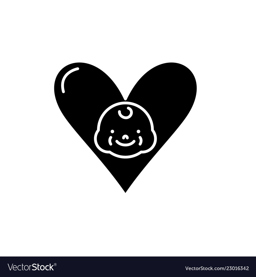 Love to child black icon sign on isolated