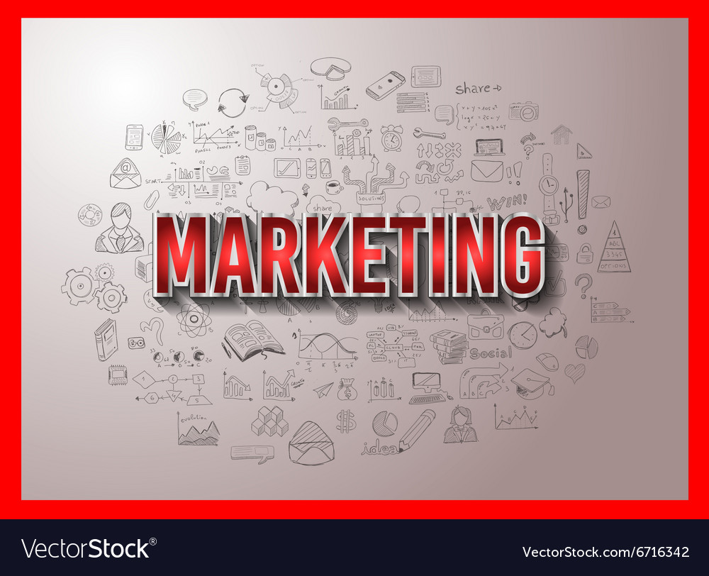Marketing Concept with Doodle design style