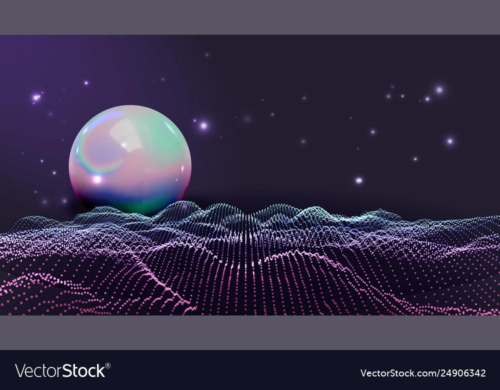 Rave retro futuristic style waves