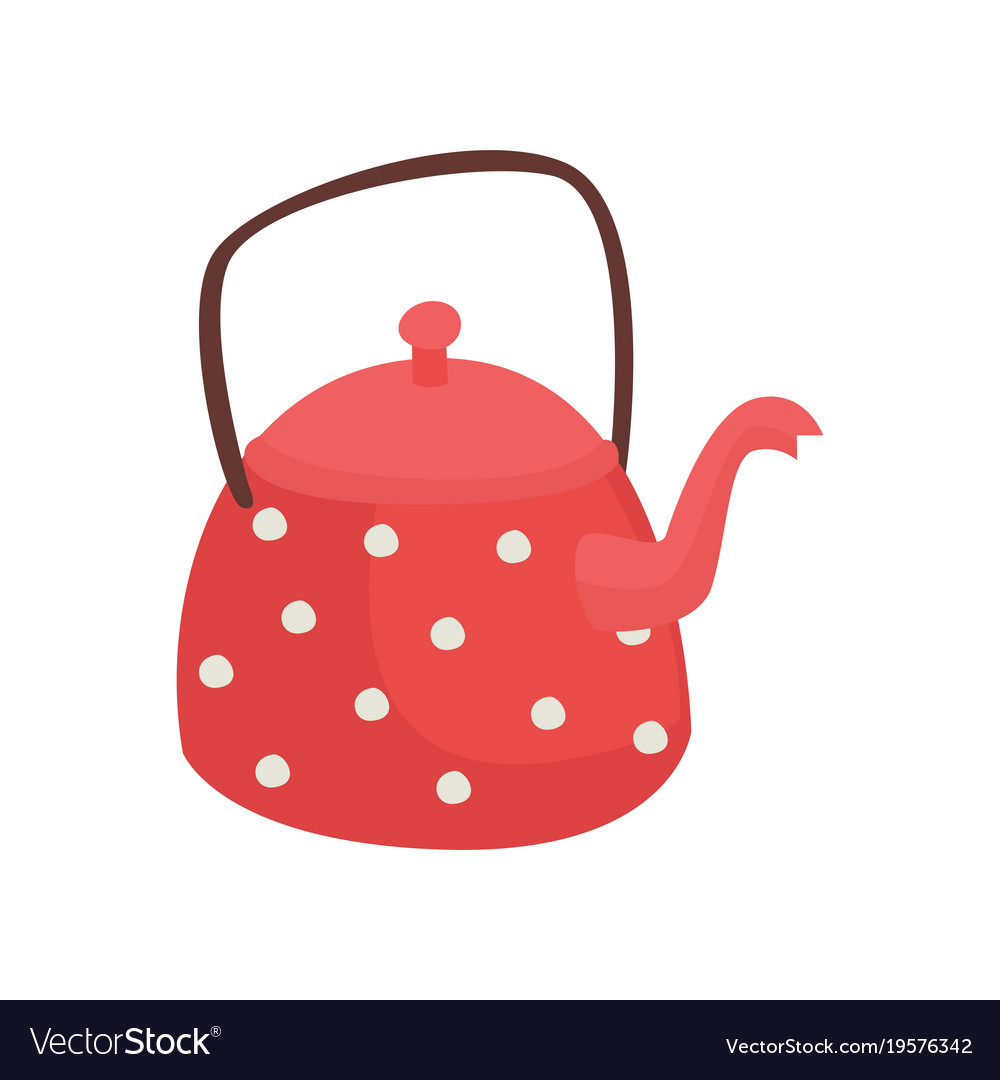 Red Teapot With White Polka Dots Cartoon Vector Image