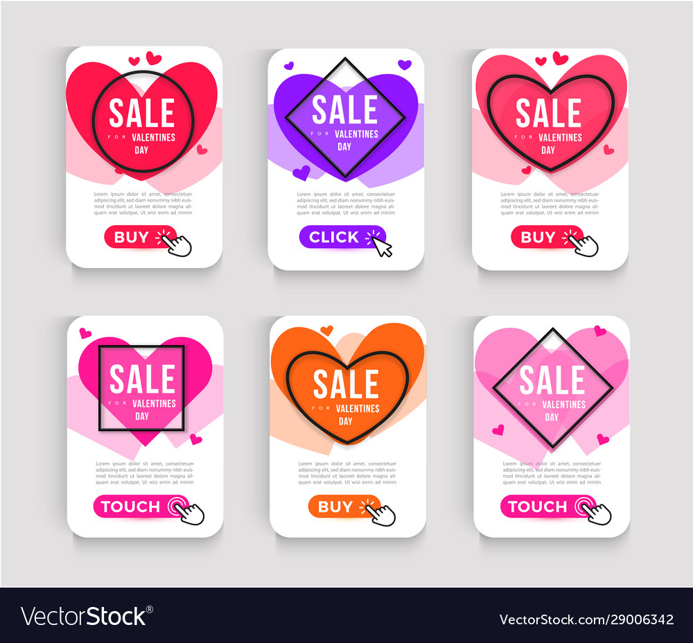 Set valentines day sale posters web banner