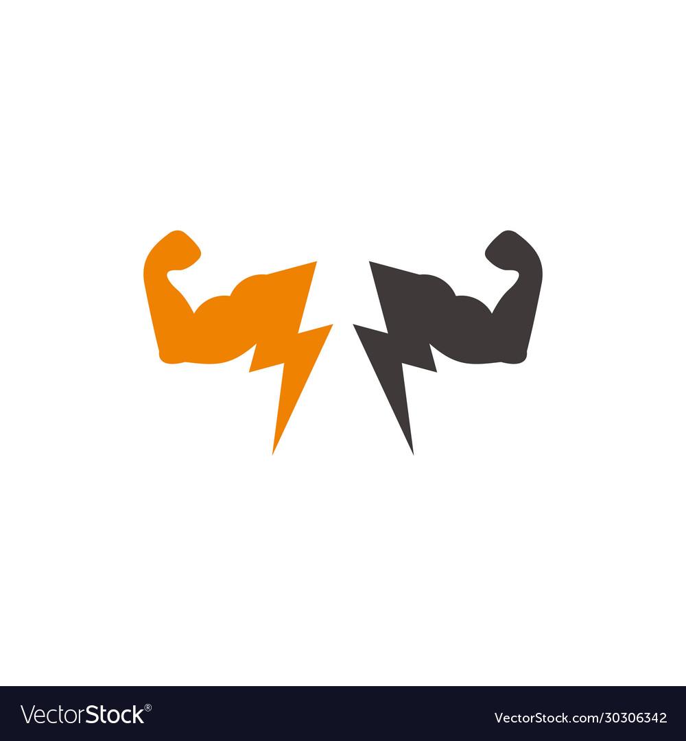 Strong body arm bolt power geometric symbol logo