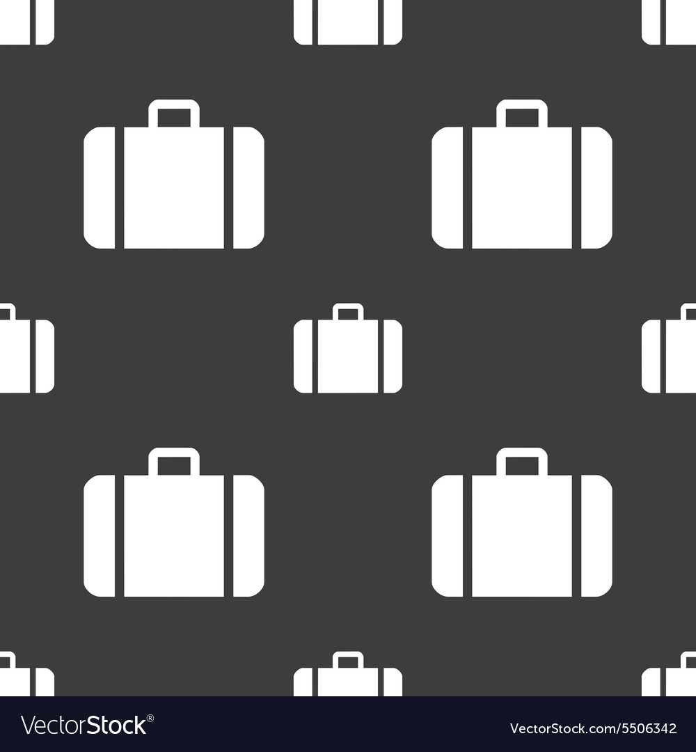 Suitcase icon sign Seamless pattern on a gray
