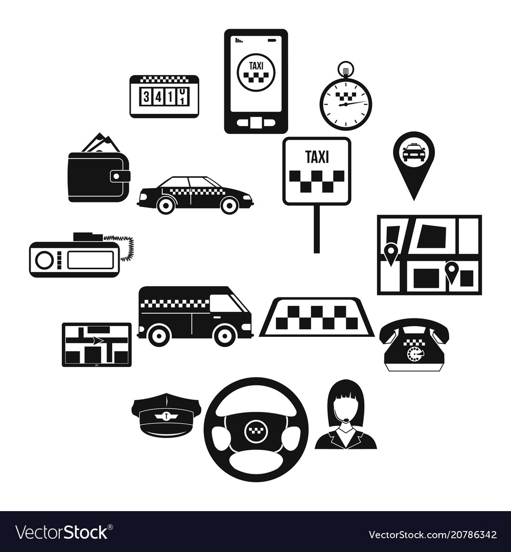 Taxi icons set simple style