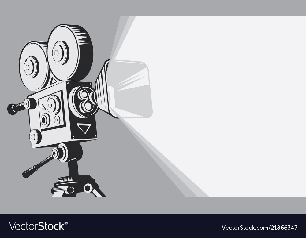 Black and white backdrop with vintage movie camera