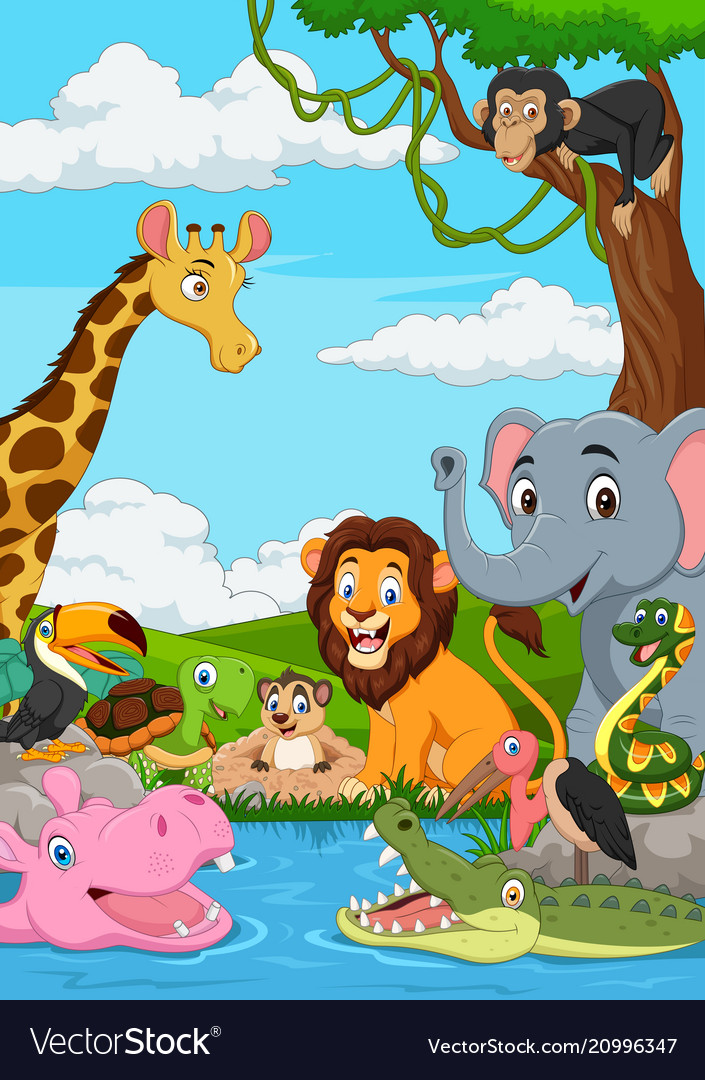 Cartoon african landscape with wild animal