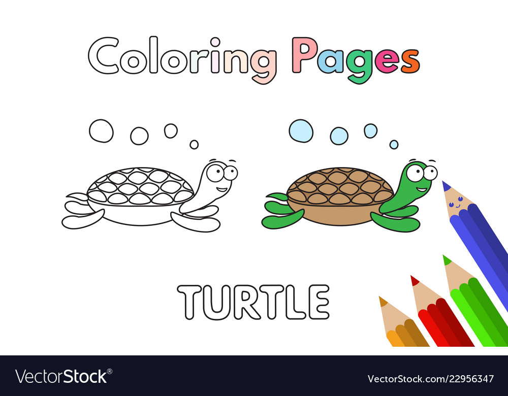 Cartoon turtle coloring book Royalty Free Vector Image