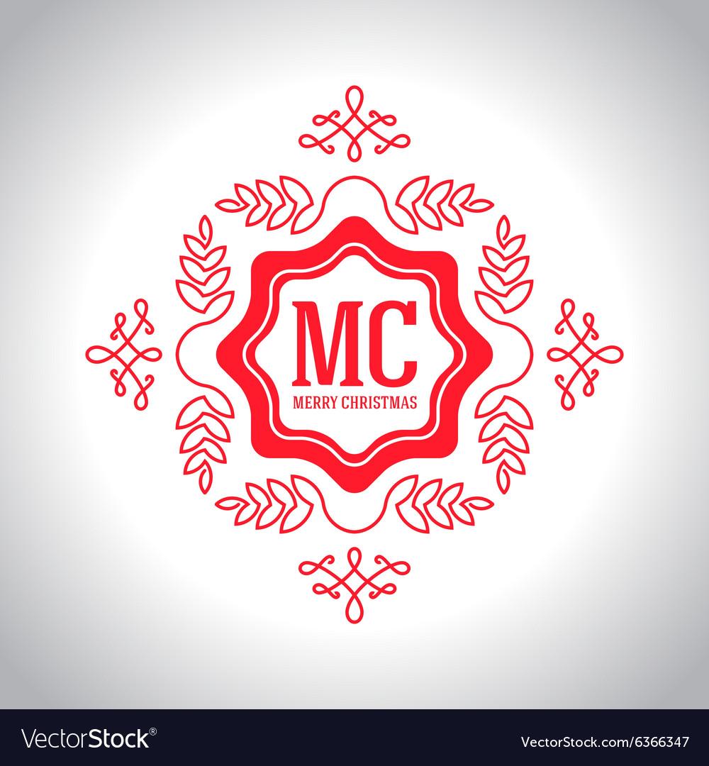 Christmas festive card monograms style lineart