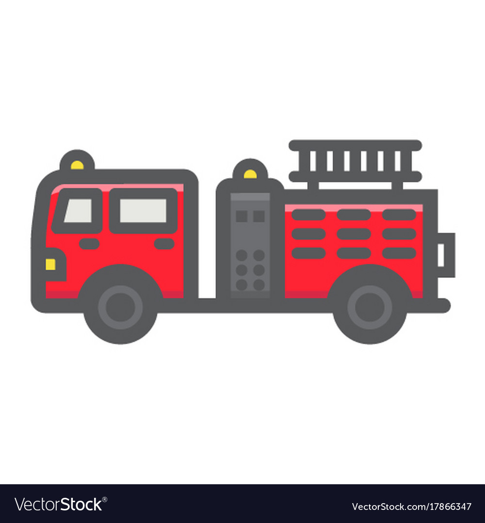 Fire Engine Filled Outline Icon Transport Vehicle Vector Image