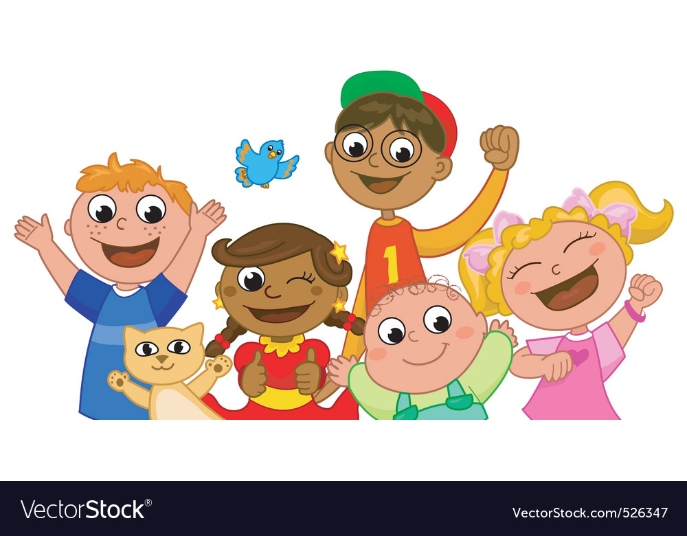 Five happy kids smiling vector image