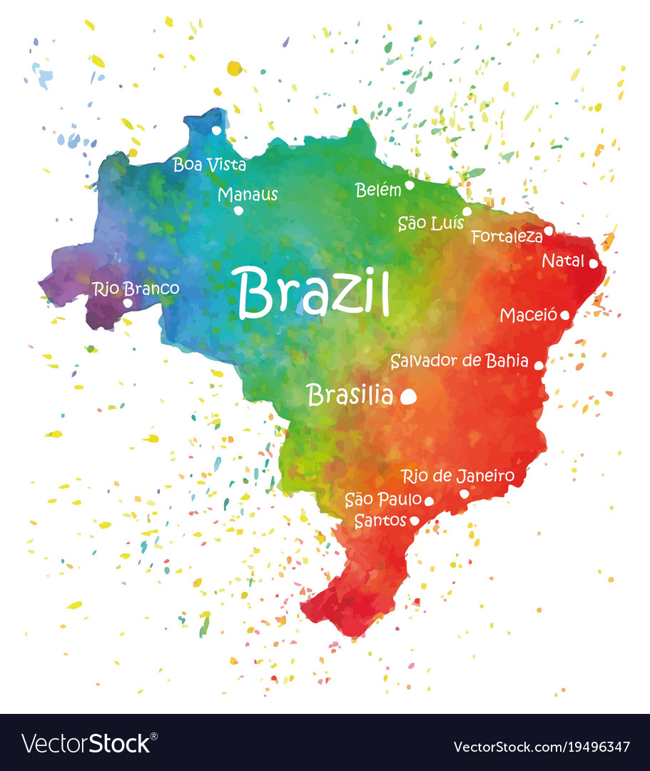 Hand drawn watercolor map of brazil royalty free vector hand drawn watercolor map of brazil vector image gumiabroncs Images