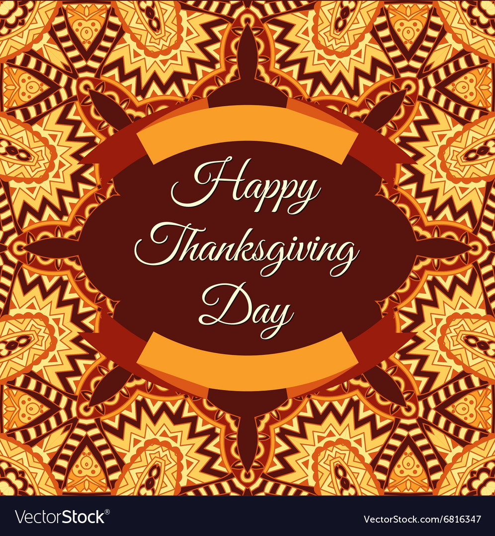 Happy thanksgiving invintation frame vector image