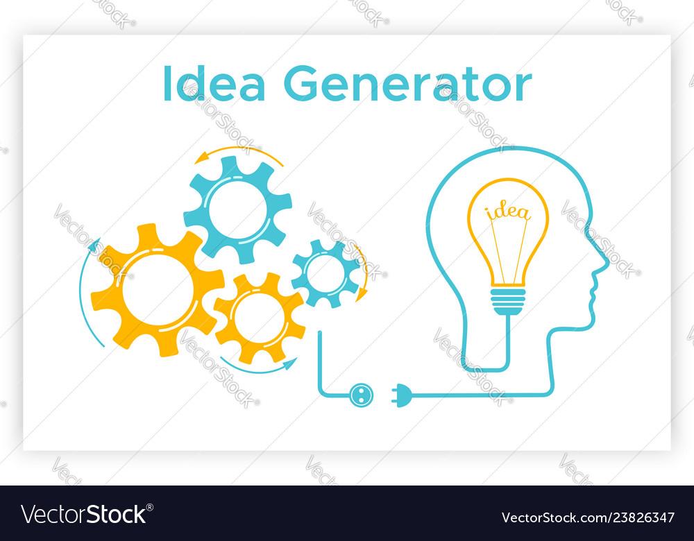 Head Silhouette Lightbulb Idea Generator Concept