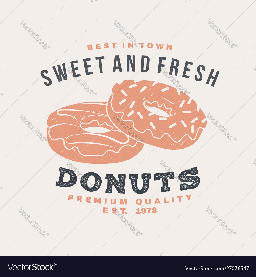 Hot and fresh donuts retro badge design vintage