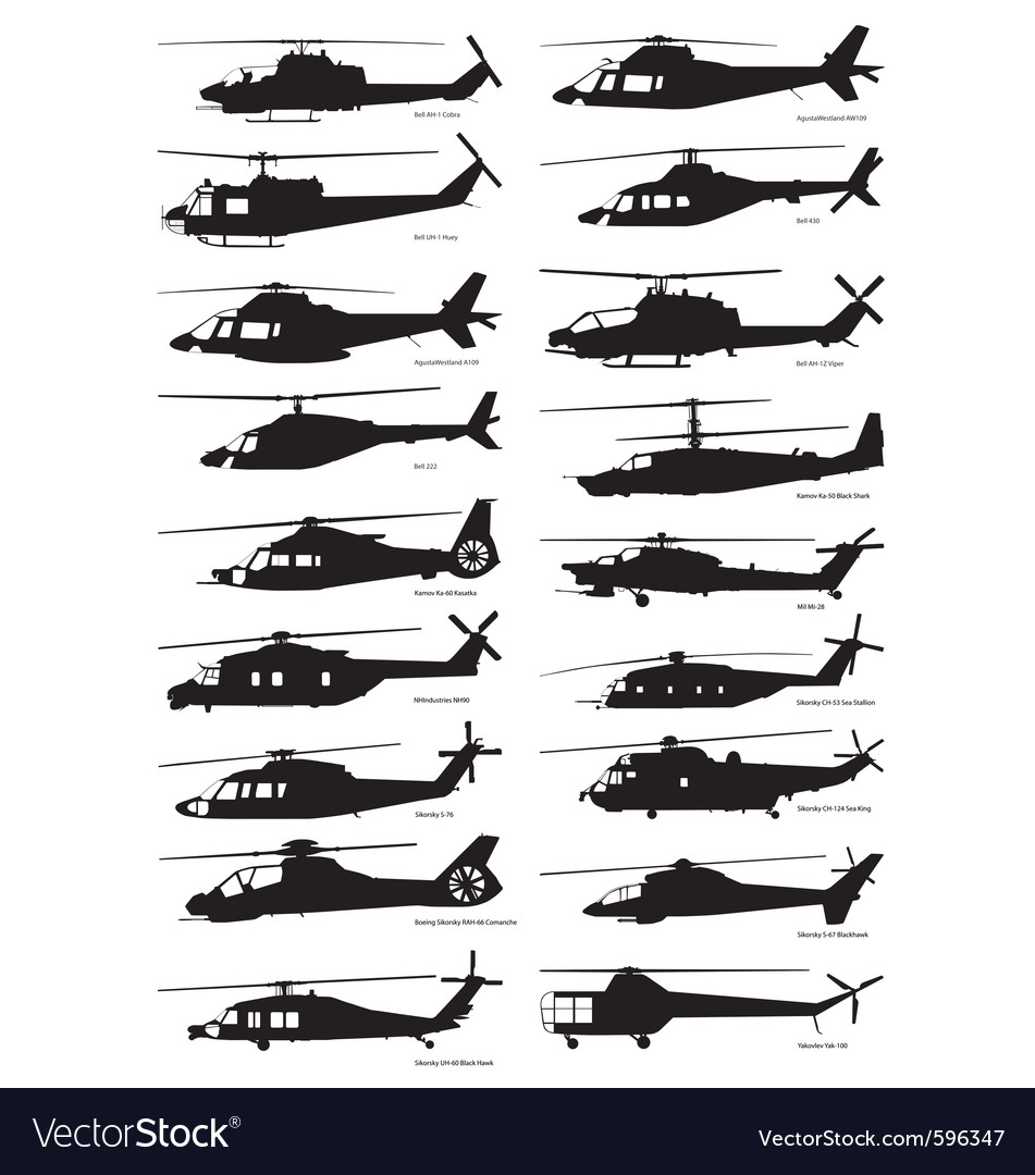 Military and civilian helicopter silhouettes